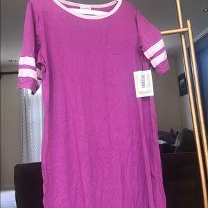 LuLaRoe Dresses - LLR Julia Pink with light pink stripes XL